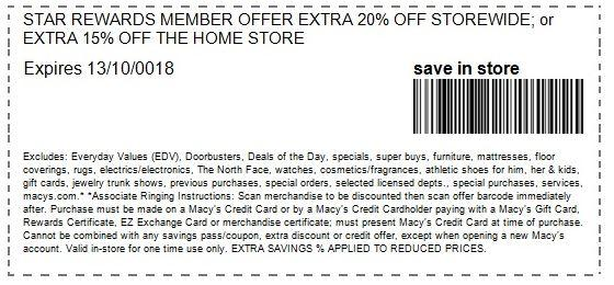 In-Store Offer for Star Rewards Members: Extra 15-20% off Site-Wide