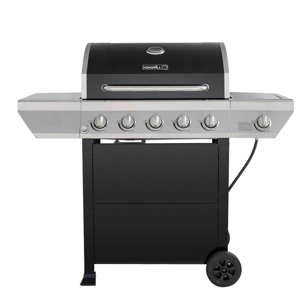 5-Burner Propane Gas Grill with Side Burner in Black with Stainless Steel Control Panel