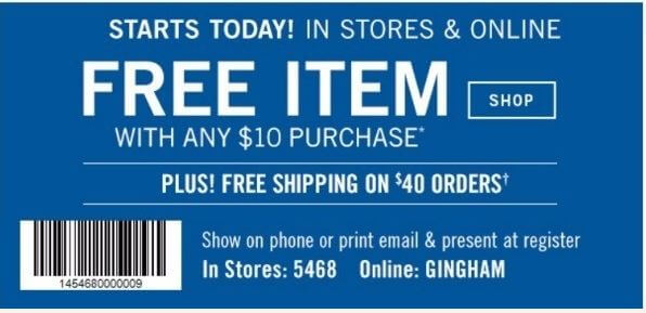 Printable: Free Item with Any $10 Purchase