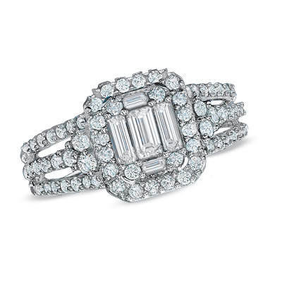 37% Off Baguette Diamond Frame Engagement Ring in 14K White Gold