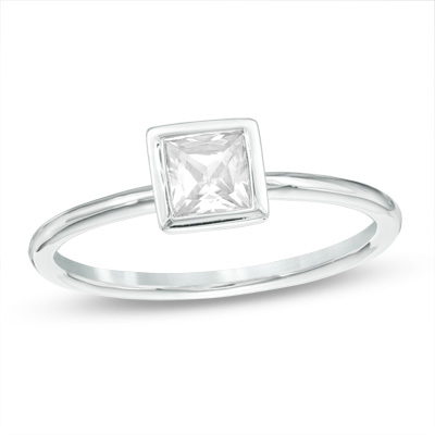 $500 Off Princess Cut Diamond Solitaire Engagement Ring 14k White Gold