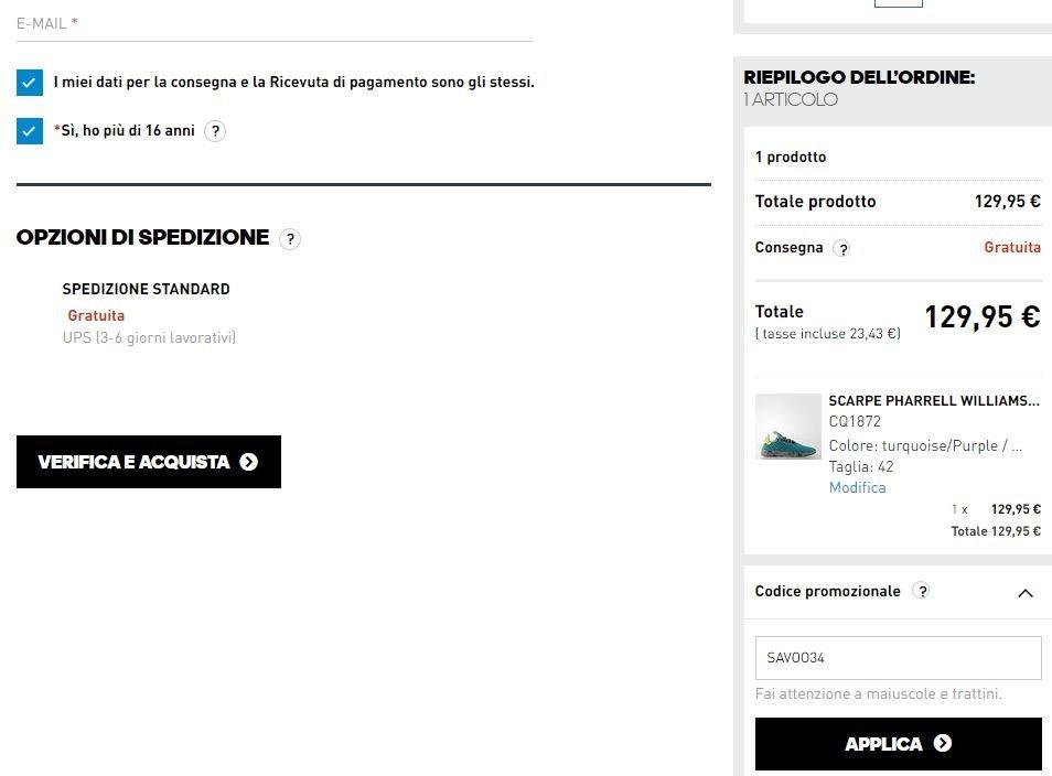codice promo adidas