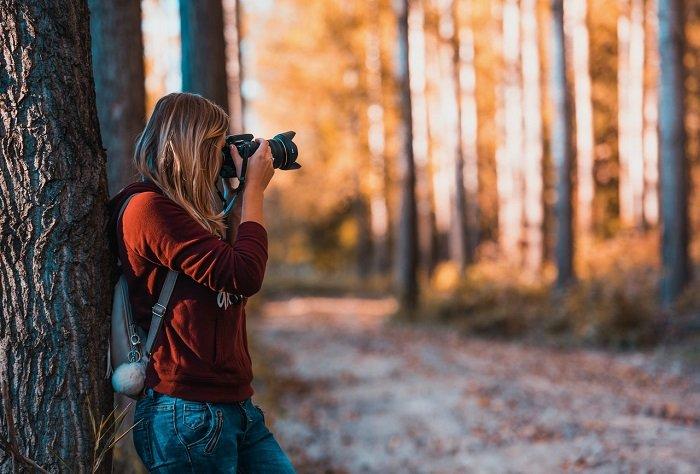 Hobby-Fotografin mit professioneller Kamera nimmt im Wald Fotos auf