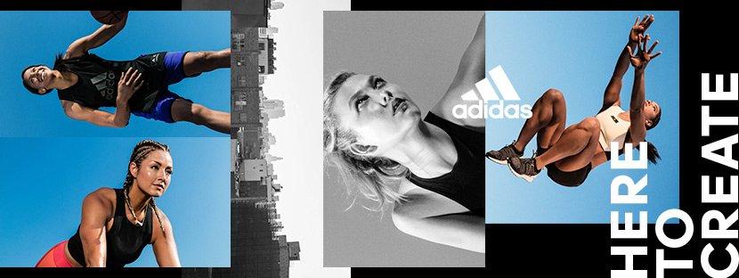 """Image promotionnelle Adidas avec différentes égéries sur fond noir et slogan """"Here to create"""""""