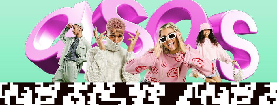 Image promotionnelle Asos avec quatre manequins devant un tag à l'effigie de la marque