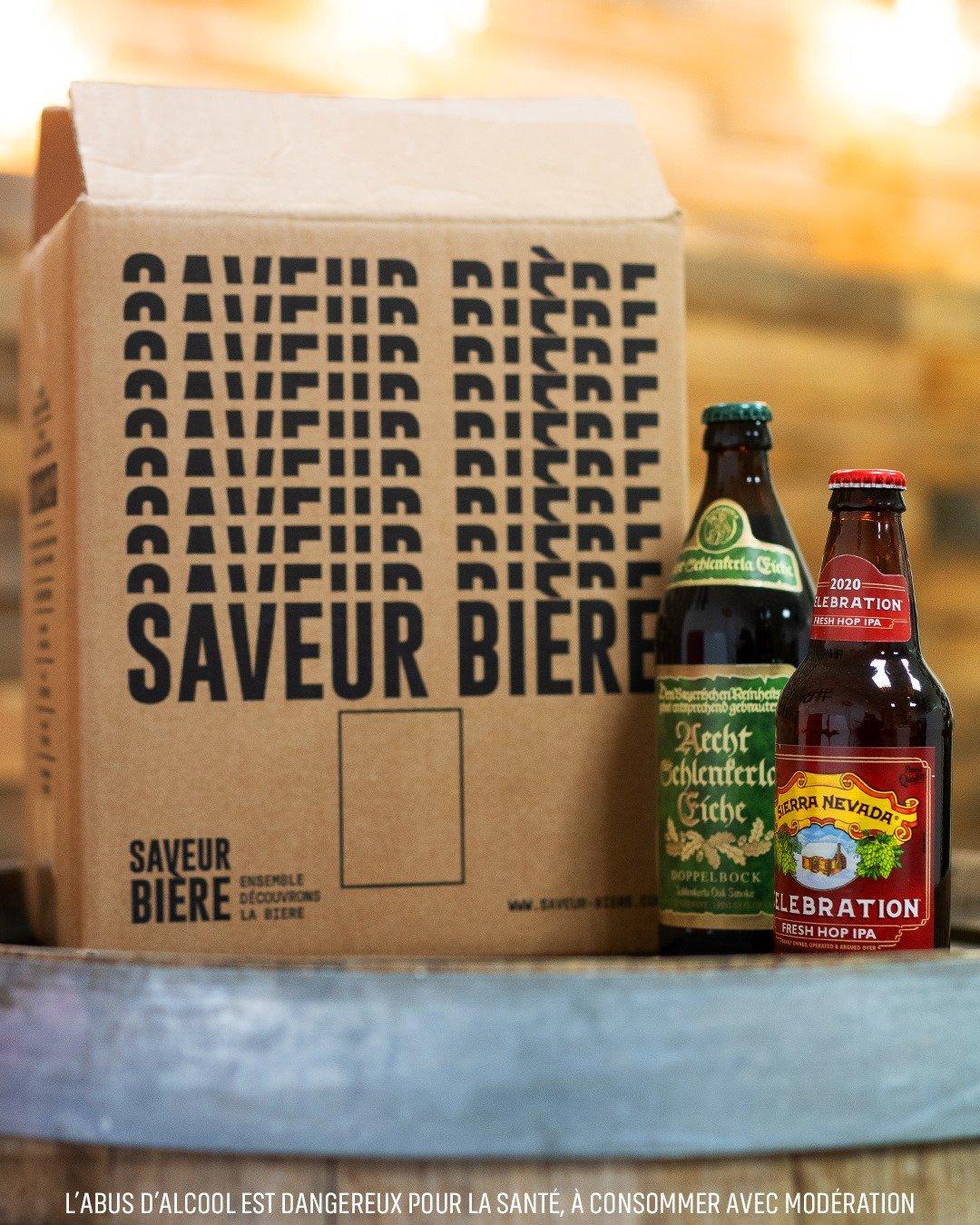 Carton avec deux bouteilles de bière pour la Fête des pères Saveur Bière