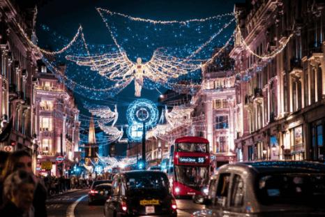 London Oxford Street with Christmas lights