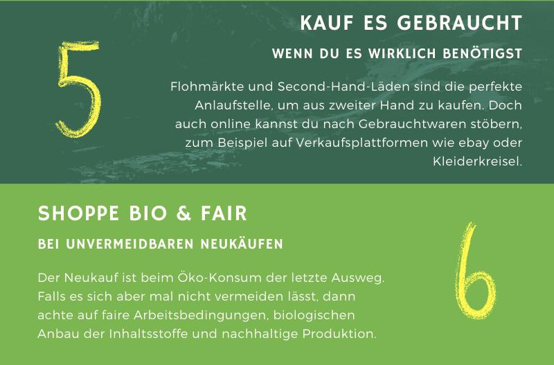 Infografik der Savoo Redaktion mit Infos zum nachhaltigen Konsum durch den Kauf von gebrauchter Second Hand Ware und dem Shoppen von bio und fair produzierten Produkten