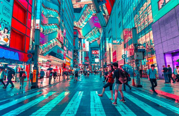 Tokio Shopping Strasse Menschen Beim Einkaufen
