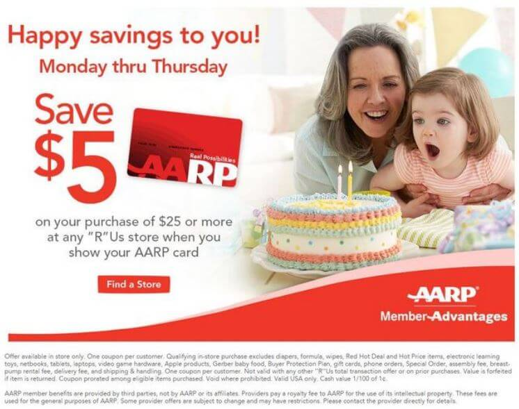 In-Store: $5 off Orders $25 or More with AARP Card
