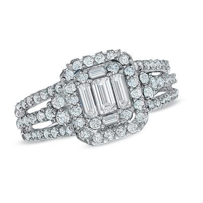 30% Off Baguette Diamond Frame Engagement Ring in 14K White Gold