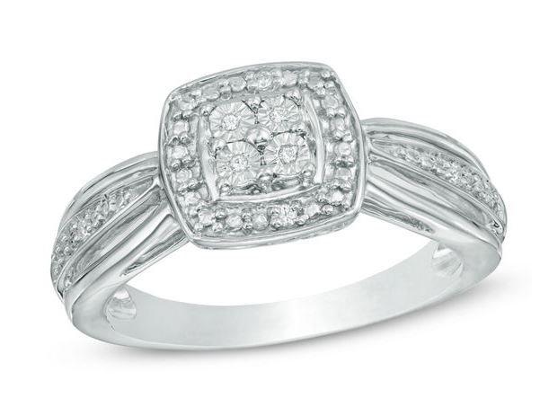 78% off Quad Diamond Accent Square Frame Promise Ring