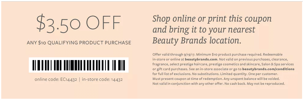 In Store: $3.50 off Select Products orders $10 or More