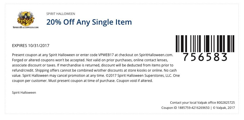 4 spirit halloween in store online coupons promo codes available october 9 2017 - Spirit Halloween 50 Off Coupon