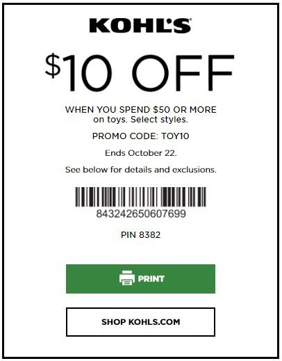 Printable: $10 off Toy orders over $50