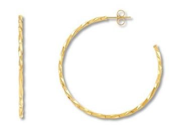 Golden Deal: 41% Off Textured Hoop Earrings 10K Yellow Gold