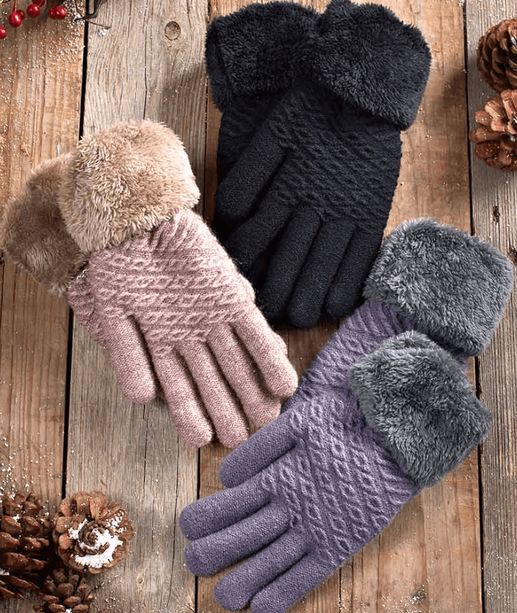 Plush Lined Gloves with Faux Fur Cuffs for $4.98